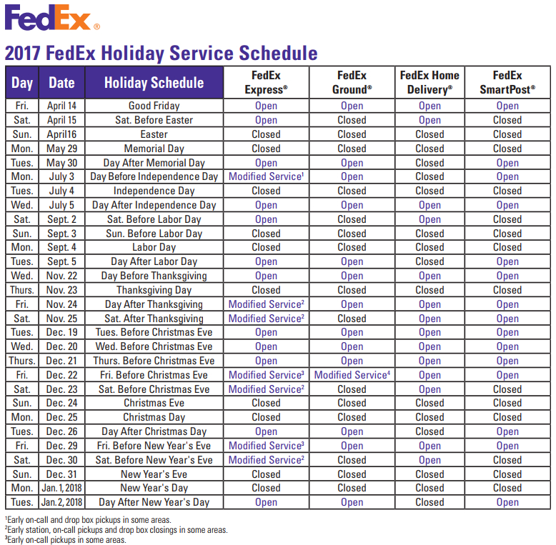 2017 FedEx Holiday Service Schedule