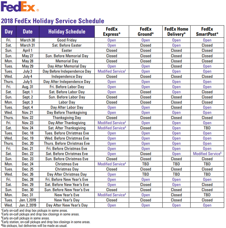2018 FedEx Holiday Service Schedule