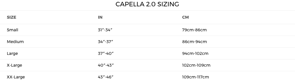 2018 Last Call Capella 2.0 Sizing